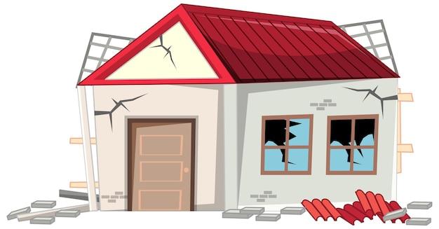 Casa rotta danneggiata dal terremoto isolata su sfondo bianco