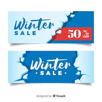 Broken ice winter sale banner