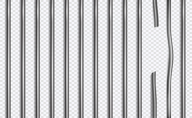 Broken jail lattice or bars in 3d style on isolated background