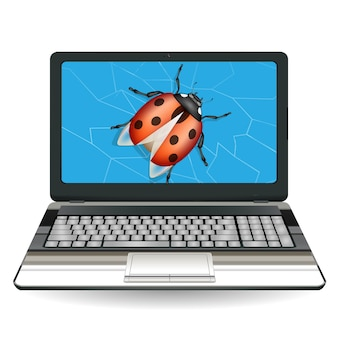 Broken laptop computer destroy by a bug