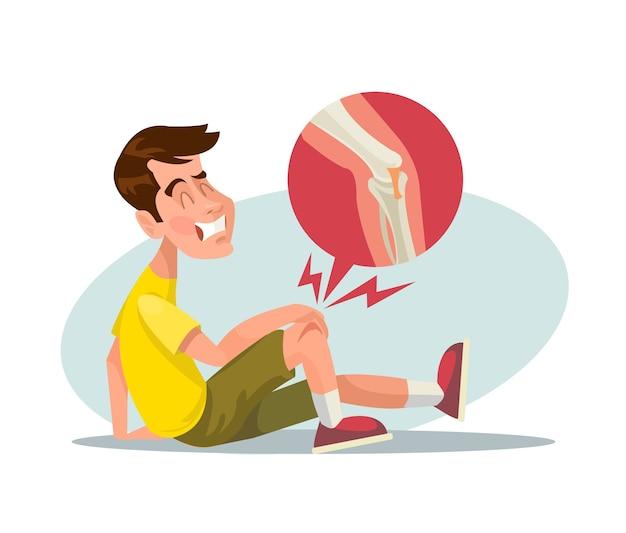 Сломанная нога, плоская иллюстрация