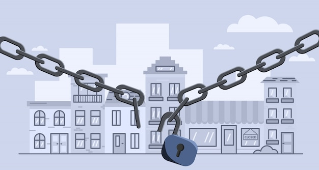 Broken lockdown chain barrier over city. stock   illustration of open lockdown.