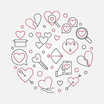 Broken love vector round outline illustration