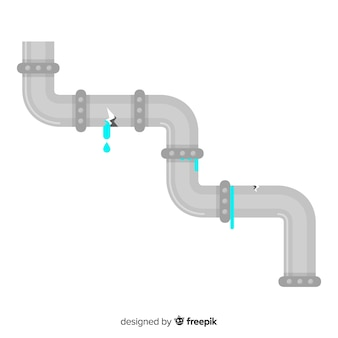 Broken metal pipe in flat design
