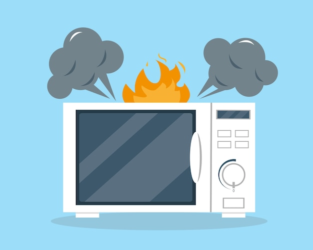 Broken microwave oven for support or repair service concept.