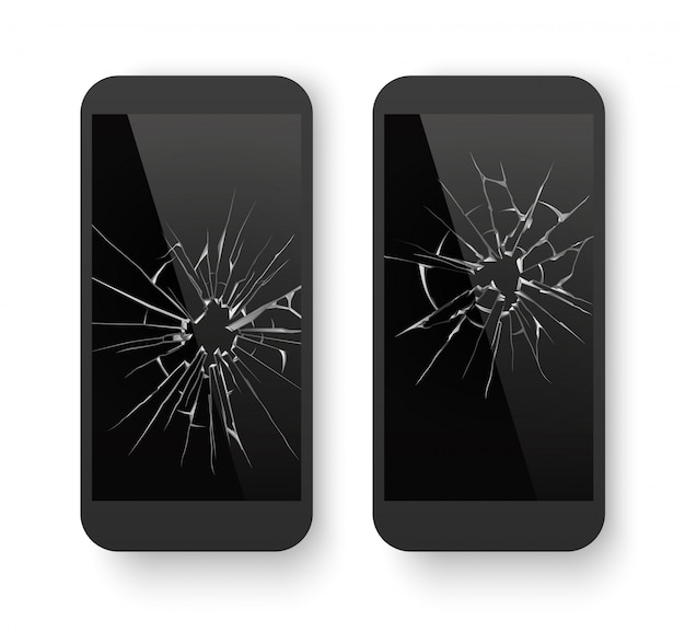 Broken mobile phone with cracked screen