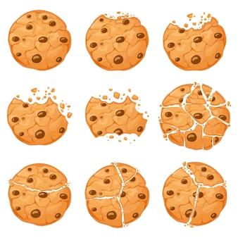 壊れたオートミールクッキー。パン粉と漫画のかまれたチョコチップクッキー。自家製チョコレートの丸い形のクランチクッキー。甘いスナックベクトルセット。イラスト甘くて美味しいパン屋さん、さわやかで美味しいカリカリ