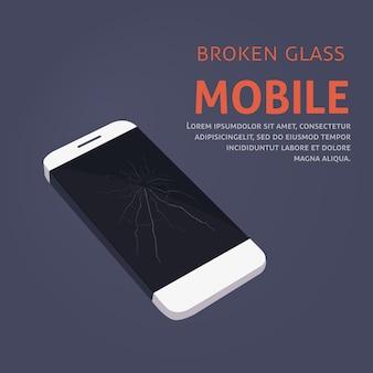 Ремонт сломанного экрана телефона Premium векторы