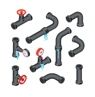 Broken pipes. leaking water pipeline tubes. leakage plumbing system 3d isometric icon vector isolated set