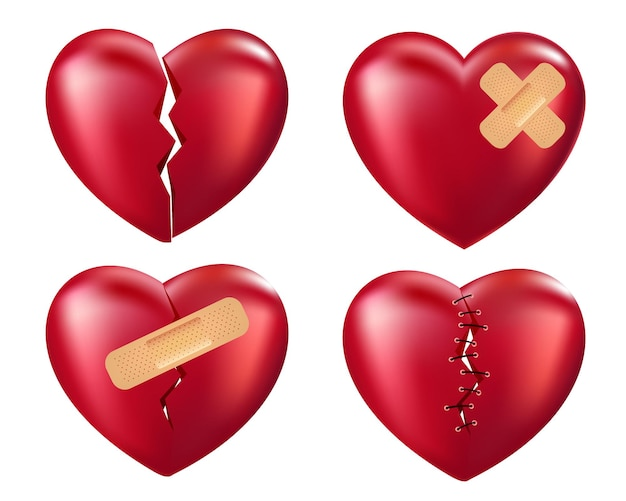 Broken red hearts with wound patches stitches plaster and bandages isolated on white background
