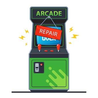 Broken retro arcade machine.