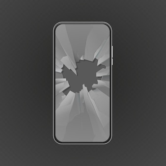 Broken screen. crashed smartphone, glass hole