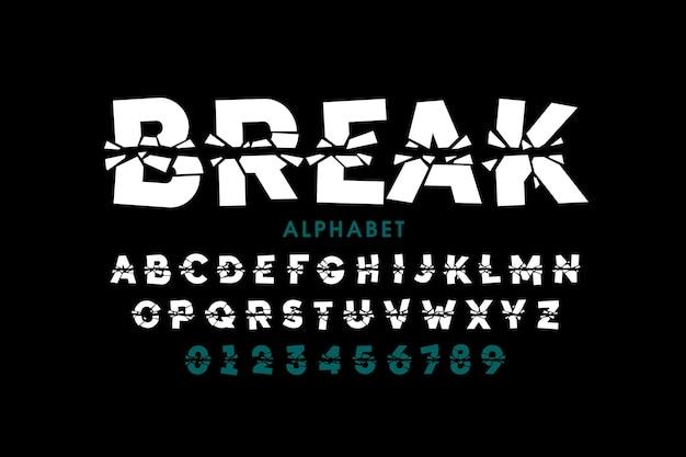 Сломанный шрифт, буквы алфавита и цифры