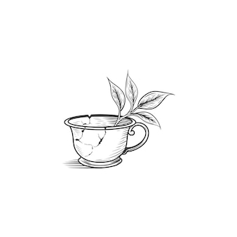 Broken tea cup drawing illustration isolated