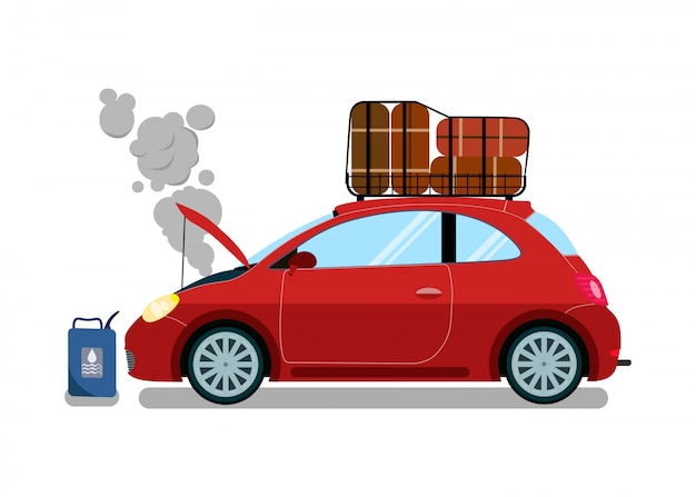 Broken trip automobile flat vector illustration