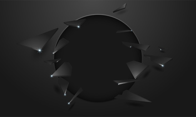 Broken wall with a black hole and cracks
