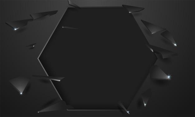 Muro rotto con un buco nero e crepe