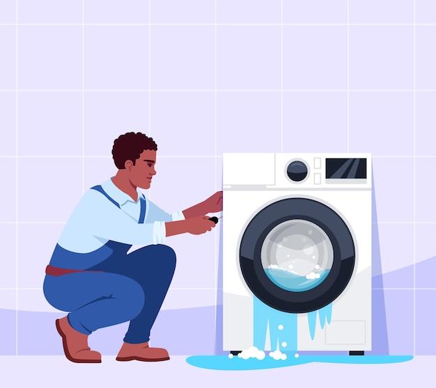 Broken washing machine and professional repairman semi   illustration