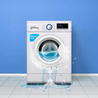 Сломанная стиральная машина, реалистичная внутренняя композиция со стиральной машиной и водой, льющейся из двери