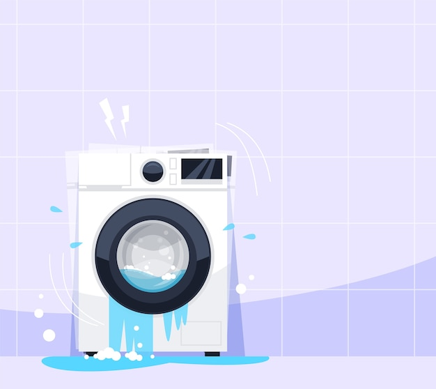 Broken washing machine semi flat rgb color illustration