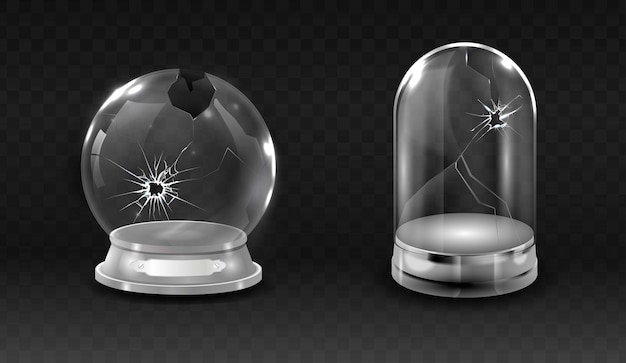 Broken waterglobe, cracked empty,  glass bell jar realistic illustration.