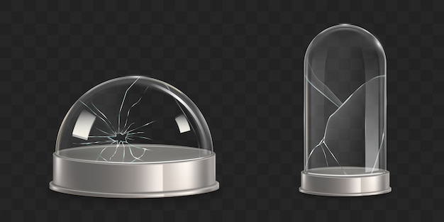 Broken waterglobe, glass bell jar realistic vector