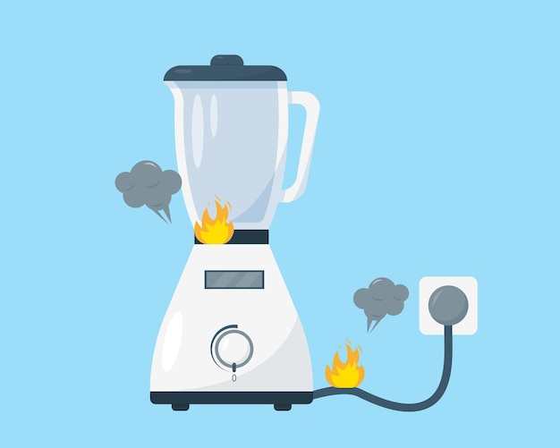 Broken white blender with fire and smoke. illustration on blue background.