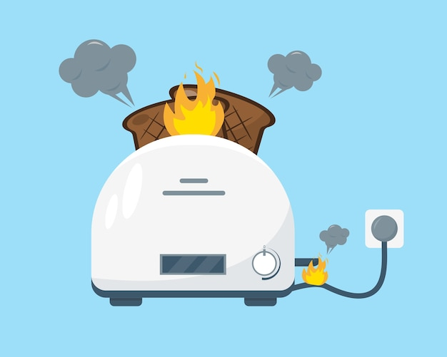 Broken white toaster with fire and smoke and burnt pieces of bread on blue background