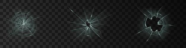 깨진 유리창이나 문에 금이 간 구멍이 어두운 배경에 격리된 현실적인 투명 유리입니다. 부서진 유리 표면 3d 세트입니다. 벡터 일러스트 레이 션