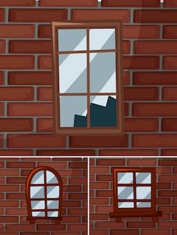 Сломанные окна на кирпичных стенах