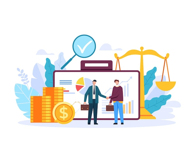 브로커 은행 재무 관리 고객 개념 평면 그래픽 디자인 일러스트 레이션