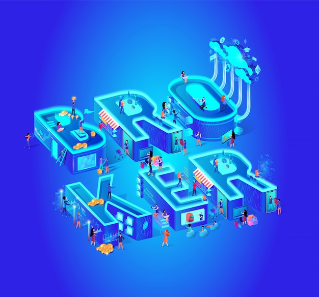 Broker vector isometric illustration cloud service