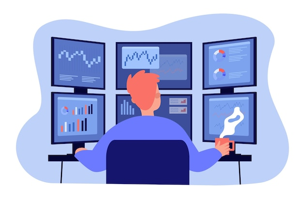 Broker working on stock market at workplace