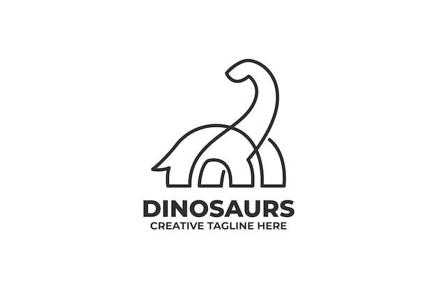 Brontosaur 공룡 한 선 그리기 로고