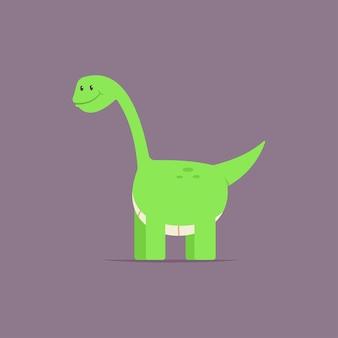 Бронтозавр динозавр милый мультипликационный персонаж. доисторическое животное, изолированные на фоне.