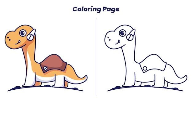 아이들에게 적합한 색칠 공부 페이지가 있는 브론토사우루스