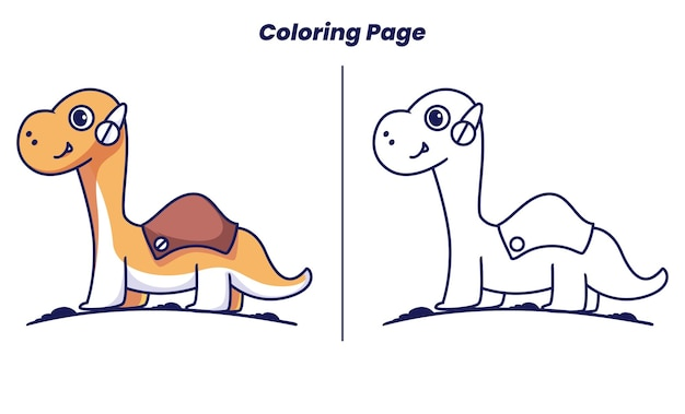 Brontosaurus with coloring pages suitable for kids