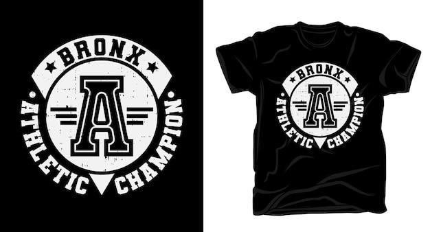 Типографский дизайн футболки чемпиона по легкой атлетике бронкса