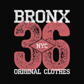 그런 지와 번호 tshirt 원래 옷 디자인에 대 한 bronx nyc 빈티지 그래픽
