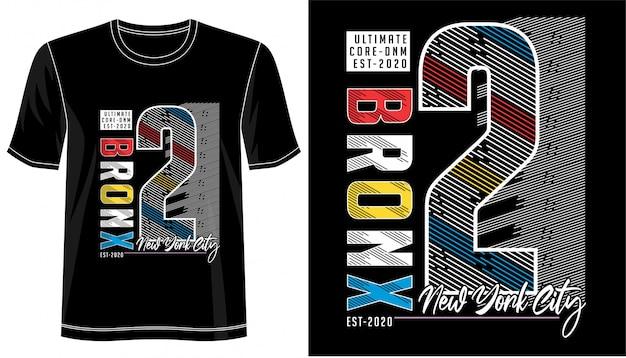 ブロンクスタイポグラフィのプリントtシャツ