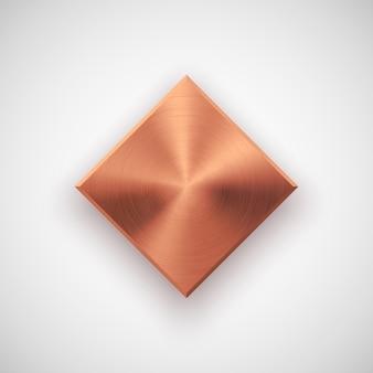 Bronze abstract rhombic button template Premium Vector