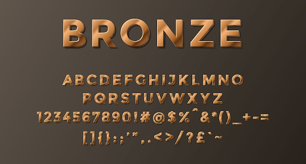 Bronze alphabet completed with numbers and symbols