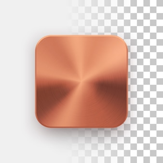 Bronze app icon template with metal texture Premium Vector