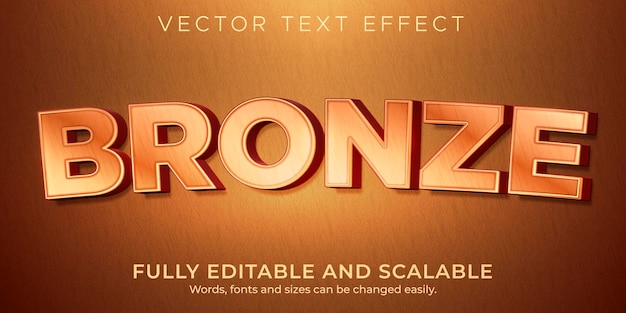 Bronze copper text effect editable metallic and shiny style
