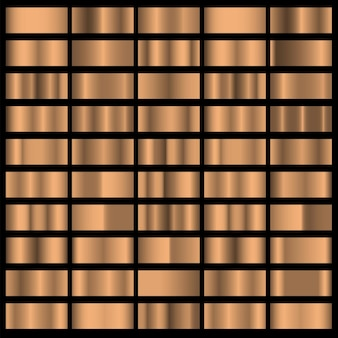 청동 호일 수평 질감 그라데이션 배경이 설정되었습니다. 테두리, 프레임, 리본, 레이블에 대한 빛나는 금속 그라데이션 컬렉션의 벡터 컬렉션