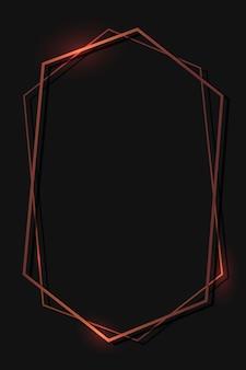 黒の背景にブロンズ六角形フレーム