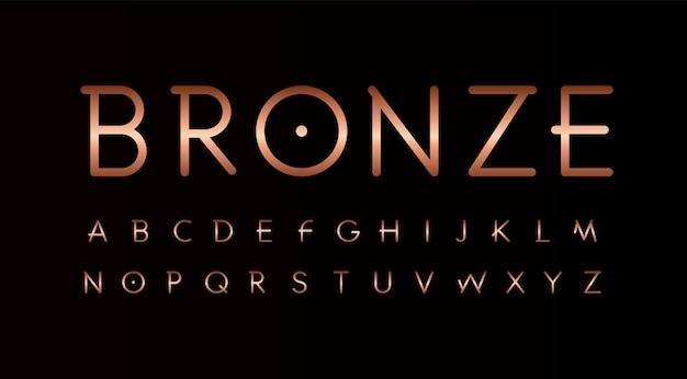Набор бронзовых букв. тонкие линии необычного стиля вектора латинского алфавита. шрифт для мероприятий, рекламных акций, логотипов, баннеров, монограмм и плакатов. дизайн типографики.