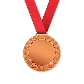Бронзовая медаль, награда победителей на белом фоне. иллюстрация.