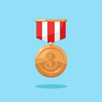 3位のリボン付き銅メダル。