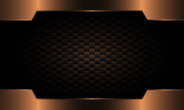Bronze metallic frame on dark hexagon background. modern design for website.